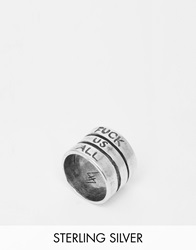 Unif Helter Skelter White Bronze Fuck Us All Ring Silver