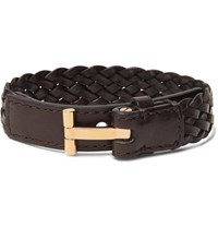 Tom Ford Woven Leather And Gold Tone Bracelet Brown