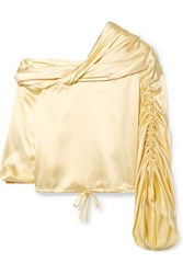 Hellessy Sunshine Draped Asymmetric Silk Charmeuse Blouse Pastel Yellow