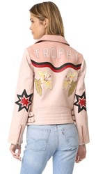 Scotch And Soda Maison Scotch Leather Jacket With Patches Light Pink