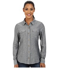 Carve Designs Inverness Shirt Deep Sea Chambray Women's Long Sleeve Button Up Gray
