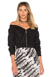 Fallon Raven Off The Shoulder Wrap Bomber Black