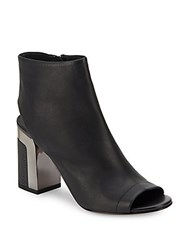 Vince Fenmore Leather Block Heel Booties Black