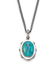 King Baby Studio Oval Bezel Turquoise Pendant Necklace Silver Turquoise