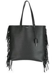Saint Laurent Medium Fringed Trim Tote Black