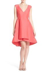 Halston Women's Heritage Cap Sleeve High Low Fit And Flare Dress Coral
