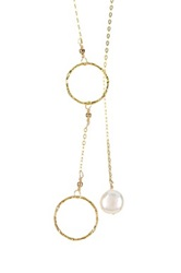 Charlene K 14K Gold Vermeil White 10Mm Freshwater Pearl Lariat Necklace