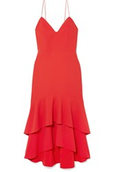 Alice Olivia Amina Tiered Crepe Midi Dress Us4