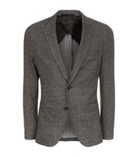 Boss Diamond Print Jersey Blazer Male Grey