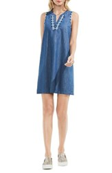 Vince Camuto Women's Two By Embroidered Denim Shift Dress