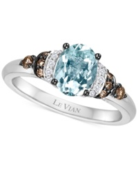 Le Vian Chocolatier Aquamarine 9 10 Ct. T.W. And Diamond 1 6 Ct. T.W. Ring In 14K White Gold