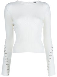 Alexander Mcqueen Hook And Eye Embellished Sweater White