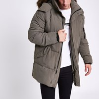 River Island Grey Longline Faux Fur Puffer Jacket