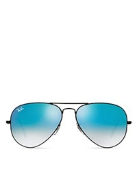 Ray Ban Large Metal Aviator Sunglasses Shiny Black Gradient Mirror Blue