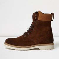 River Island Mens Brown Suede Tall Combat Boots