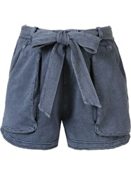 Giuliana Romanno Belted Sweat Shorts Blue