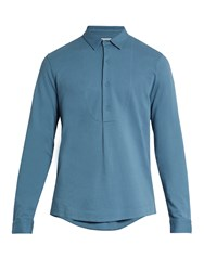 Sorensen Painter Bib Front Cotton Polo Shirt Blue
