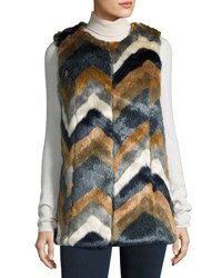 Romeo And Juliet Couture Colorblock Faux Fur Vest Multi Pattern