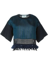 3.1 Phillip Lim Cropped Fringed Blouse Black