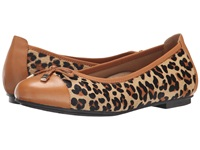Vionic With Orthaheel Technology Spark Minna Ballet Flat Dark Brown Tan Leopard Women's Flat Shoes Animal Print