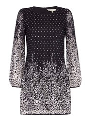 Yumi Spotted Floral Lace Shift Dress Black