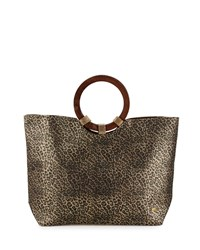Capelli Of New York Cappelli Leopard Print Straw Tote Bag Gold