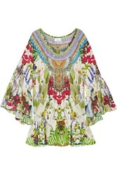 Camilla Exotic Hypnotic Crystal Embellished Printed Silk Crepe De Chine Mini Dress Green