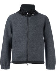 Moncler Hooded Contrast Panel Jumper Grey