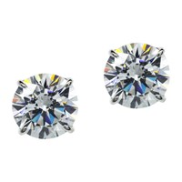 Carat London 9Ct White Gold Round Stud Earrings Clear
