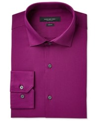 Marc New York Men's Slim Fit Motion Ease Collar Wrinkle Free Solid Dress Shirt Ruby