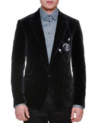 Dolce And Gabbana Rose Embroidered Two Button Velvet Jacket Charcoal