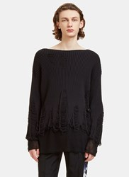 Yang Li Peeling Crew Neck Ribbed Knit Sweater Black