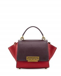 Zac Posen Eartha Iconic Mini Colorblock Leather Satchel Bag Wine