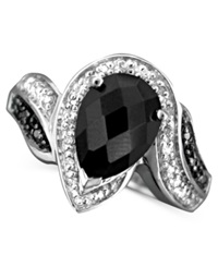 Macy's Sterling Silver Ring Onyx And Diamond 1 10 Ct. T.W.