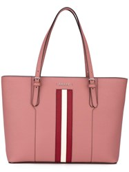 Bally Stripe Detail Tote Pink Purple