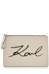 Karl Lagerfeld Zipped Leather Clutch