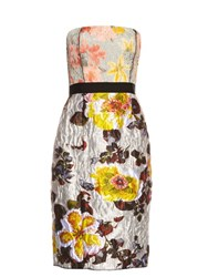 Oscar De La Renta Floral Jacquard Brocade Strapless Dress Grey Multi