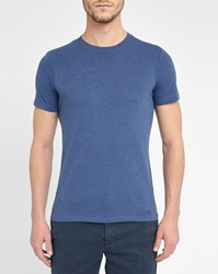 M.Studio Mottled Dark Blue Philippe Jersey Round Neck T Shirt