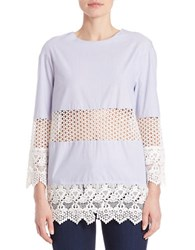 French Connection Cotton Lace Paneled Tunic Blue White