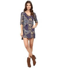 Roxy Lucky Blue Dress Bohemian Behavior Blue Print Women's Dress Gray