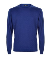 Stefano Ricci Cable Front Sweater Male Royal