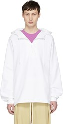 Stella Mccartney White Love Visitor Half Zip Hoodie