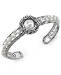 Macy's Effy Cultured Freshwater Pearl Bangle Cuff 4Mm In Sterling Silver No Color