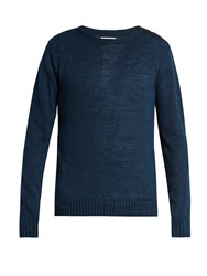 Oliver Spencer Crew Neck Linen And Cotton Blend Sweater Navy
