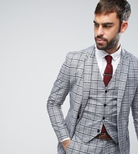 Only And Sons Skinny Suit Jacket In Check Grey