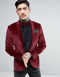 Noose And Monkey Super Skinny Velvet Blazer Burgundy Red