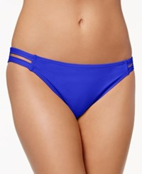 California Waves Strappy Hipster Bikini Bottoms Women's Swimsuit Laser Blue