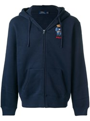 Polo Ralph Lauren Embroidered Teddy Cardigan Blue
