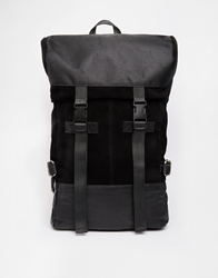 Asos Backpack In Suede And Leather Mix Black