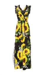 Dolce And Gabbana Sunflower Lace Detail Maxi Dress Print